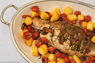 Baked Whole Golden Perch with Olive & Walnut Stuffing