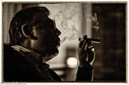 Smoking a cigar in Lorenzo's (his grand son) honour