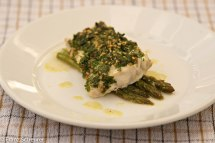 Ling Fillets baked with asparagus and parsley pine nuts topping