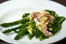 Morton Bay Bug Salad with Rocket, Asparagus and Saffron Aoli