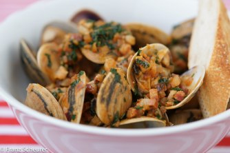 Surf Clams Stir-fired with Onions, Pancetta and Paprika